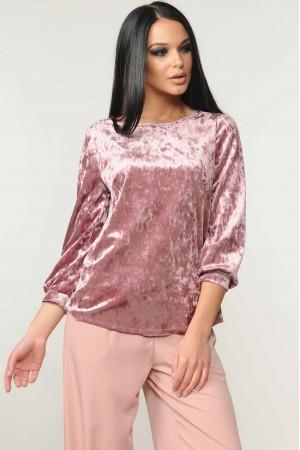 Велюрова блуза «Мірей» рожевого кольору