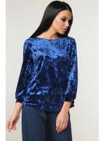 Велюрова блуза «Мірей» синього кольору