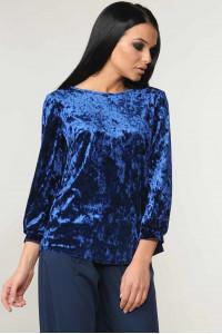 Велюровая блуза «Мирей» синего цвета