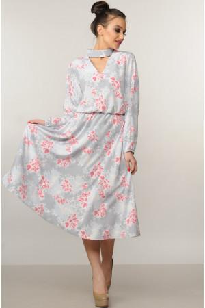Платье «Бохо-миди» серого цвета