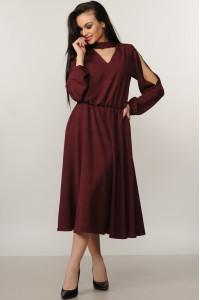 Платье «Бохо-миди» бордового цвета