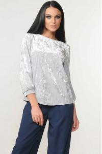 Велюровая блуза «Мирей» серого цвета