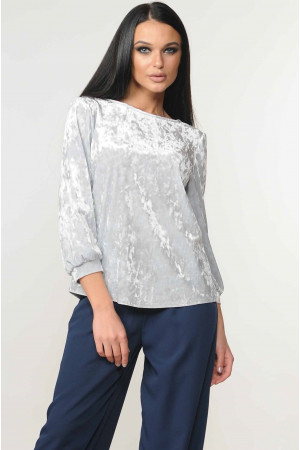 Велюрова блуза «Мірей» сірого кольору