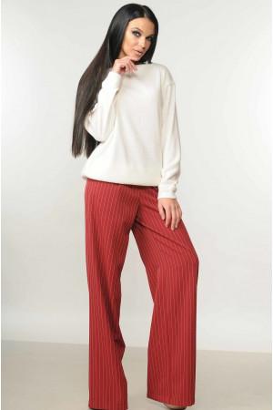 Костюм «Микаэль-Шэр»: бордовые брюки и свитшот белого цвета