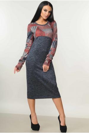 Сукня «Сніжана» темно-сірого кольору принт рубчик