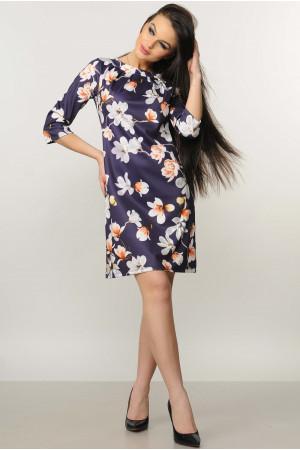 Платье «Волна» фиолетового цвета с магнолиями