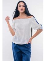 Блуза «Лукия» белого цвета с темно-синим