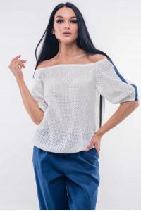 Блуза «Лукия» білого кольору з темно-синім