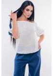 Блуза «Лукія» білого кольору з темно-синім
