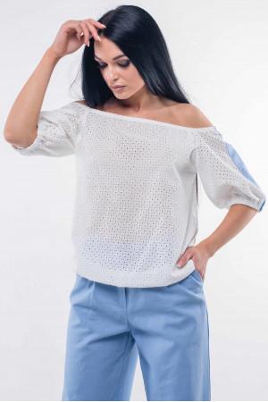 Блуза «Лукія»  білого кольору з блакитним