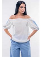 Блуза «Лукия» белого цвета с голубым
