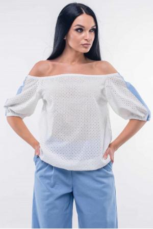 Блуза «Лукия» білого кольору з блакитним