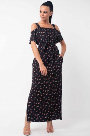 Платье «Летиция» черного цвета с цветами