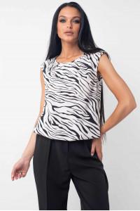 Блуза «Китти» черно-белого цвета