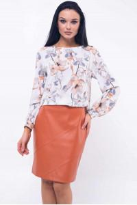 Блуза «Марта» карамельно-белого цвета
