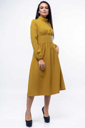 Платье «Окси» горчичного цвета