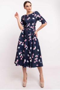 Сукня «Стелла-принт» синього кольору з бутонами