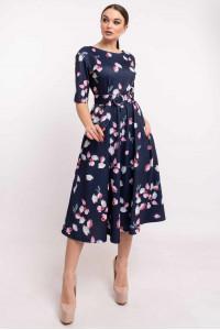 Платье «Стелла-принт» синего цвета с бутонами