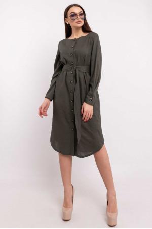 Платье-рубашка «Леонила» цвета хаки