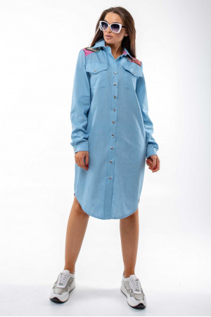 Платье «Граффити» голубого цвета