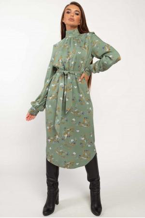 Платье «Амира» зеленого цвета с принтом