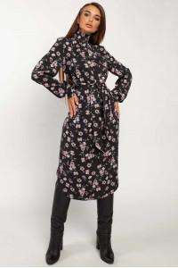 Платье «Амира» черного цвета с принтом