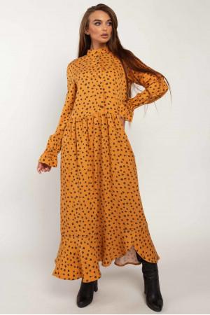 Платье «Флорет» горчичного цвета