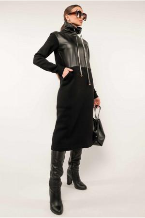 Платье «Катарина-кожа» черного цвета
