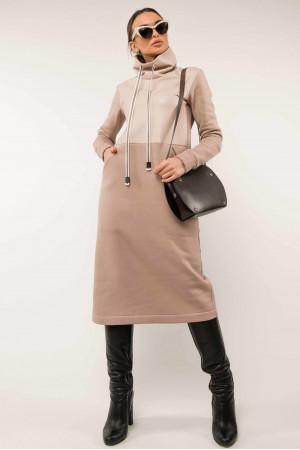 Сукня «Катаріна-шкіра» бежевого кольору