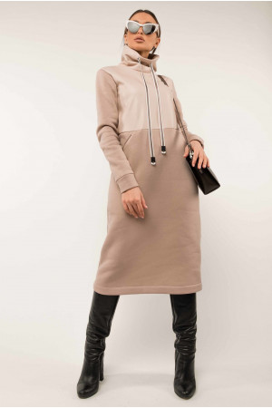 Платье «Катарина-кожа» бежевого цвета