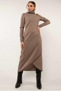 Платье «Бетани» бежевого цвета в клетку