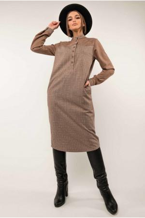 Сукня «Брук» бежевого кольору в клітинку