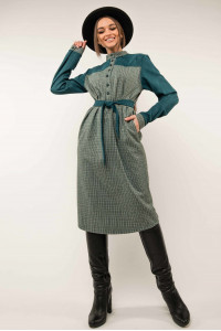 Платье «Брук» цвета бриз в клетку