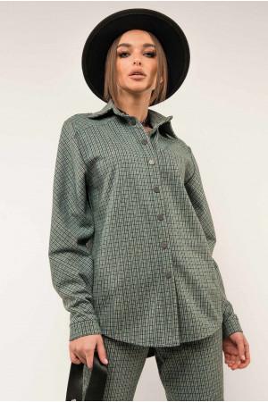 Сорочка «Лейден» кольору бриз в клітинку