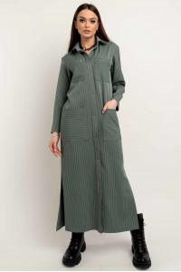 Платье-рубашка «Альба» оливкового цвета
