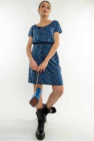 Платье «Кира» синего цвета с цветочным принтом