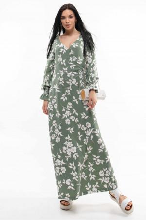 Сукня «Ліна» оливкового кольору з принтом