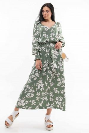 Платье «Лина» оливкового цвета с принтом