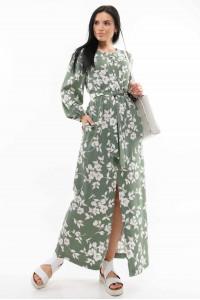 Платье «Медина» оливкового цвета с принтом