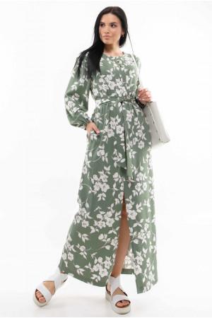 Сукня «Медіна» оливкового кольору з принтом