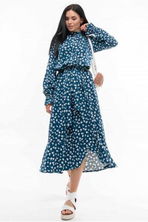 Платье «Флорет» сине-белого цвета