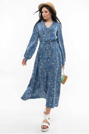 Платье «Несси» синего цвета с принтом