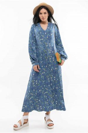 Сукня «Нессі» синього кольору з принтом