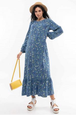 Сукня «Данія» синього кольору з принтом