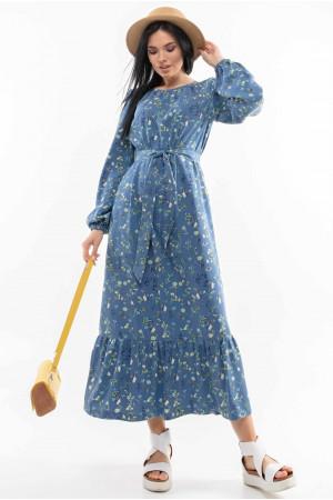 Платье «Дания» синего цвета с принтом