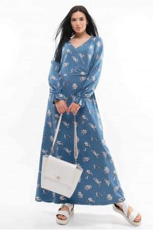 Платье «Лина» синего цвета с принтом