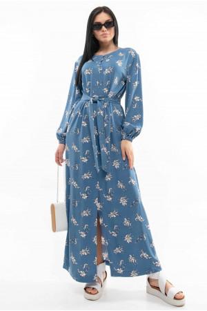 Сукня «Медіна» синього кольору з принтом