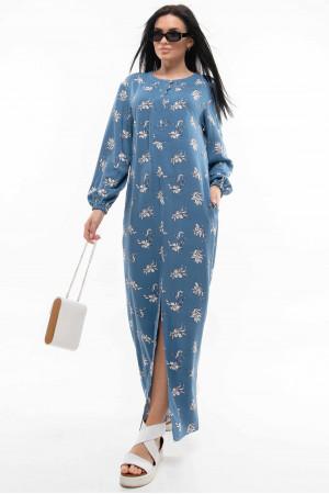 Платье «Медина» синего цвета с принтом