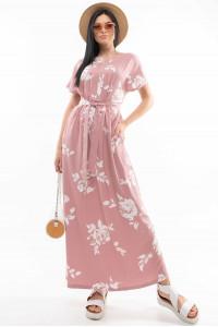Сукня «Хенні» кольору пудри з принтом