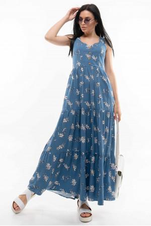 Сарафан «Елен» синього кольору з принтом